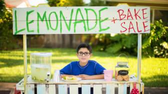 A little boy mans a lemonade stand.