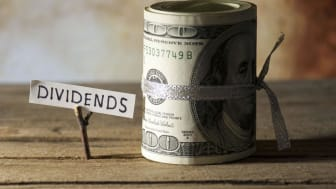 "picture of a roll of money next to a sign saying ""dividends"""