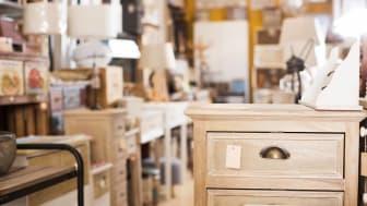 Assortment of quality designer furniture presented in the modern furniture shop