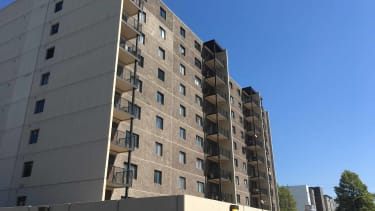 The new metal balconies give the Fargo condo towers a more updated look.