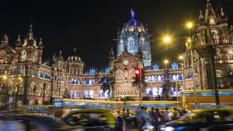 Illuminated Chhatrapati Shivaji Maharaj Terminus (CSMT) formerly known as Victoria Terminus Railway station, Mumbai, India. (Illuminated Chhatrapati Shivaji Maharaj Terminus (CSMT) formerly k
