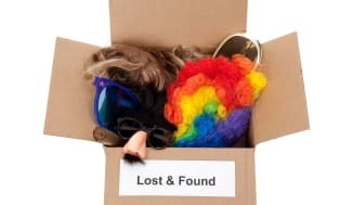 A box with items for a lost and found.