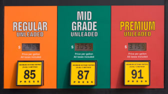 Three different grades of gas at a gas station.
