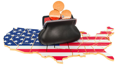 picture of U.S. map with change purse filling with coins