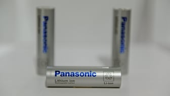 LAS VEGAS, NV - JANUARY 07:Panasonic's lithium ion batteries are on display at the Panasonic booth at the 2014 International CES at the Las Vegas Convention Center on January 7, 2014 in Las V