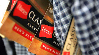 NILES, IL - JULY 12:Hanes labels hang on Hanes-brand men's sleep pants at a Sears July 12, 2005 in Niles, Illinois. Chicago-based Sara Lee Corp. has announced that the company plans to spin-o
