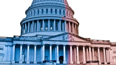 picture of Capitol Building that's half red and half blue