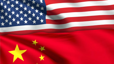 USA - American Flag and China - Chinese Flag with ripples and shadow. No Effect No Texture.