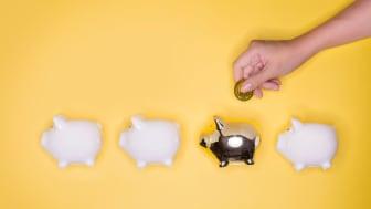 Concept art showing a person putting money into a golden piggy bank.