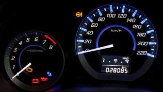 Modern car speedometerand illuminated dashboard