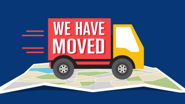 """drawing of moving truck driving on a map with """"we have moved"""" written on the side"""
