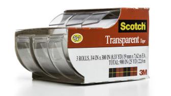 Miami, USA - July 13, 2014: Scotch 3M transparent tape 3 rolls dispenser package