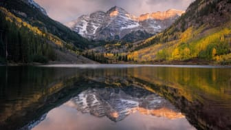 Scenic shot of mountain in Colorado reflected in water