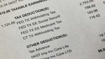 picture of pay stub showing payroll deductions