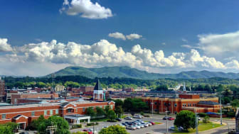 Downtown Johnson City, Tenn., with mountains in the background