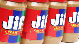 West Palm Beach, USA - October 31, 2011: This is an studio product shot showing a row of Jif Creamy Peanut Butter containers. Jif is made by J.M. Smucker Company.