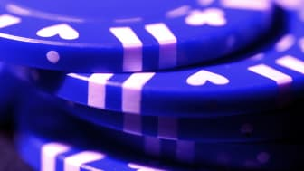 Stack of blue poker chips