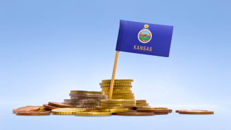 picture of Kansas flag in coins