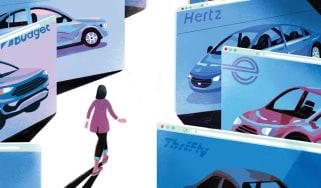 illustration of woman walking through hall of rental cars