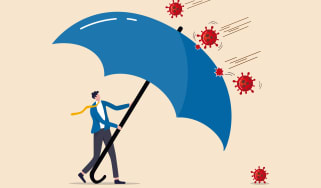 A drawing of an umbrella repelling COVID-19 germs