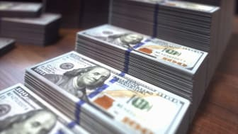 Stacks of one hundred US dollar banknotes, illustration.