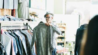 Senior man shopping for clothes