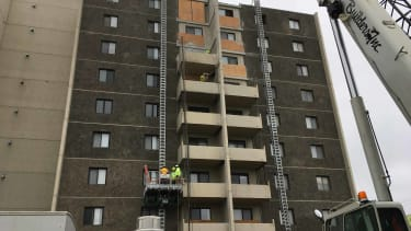 The balcony removal project gets underway in Fargo, N.D.