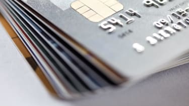 close up of credit card background.