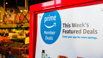 Amazon Prime Members Deals displayed in a Whole Foods store in south San Francisco bay area