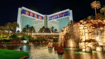 Las Vegas, Nevada - May 27, 2018 : Night view of Mirage hotel and casino, Las Vegas Blvd, NV
