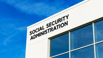 A view of the sign on the social security building