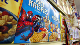 """405057 01: Rice Krispies boxes with a """"Spider-Man"""" promotion sit on a shelf May 7, 2002 in New York City. """"Spider-Man"""" the movie shattered records becoming the first movie to hit $100 million"""