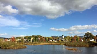 A lake with a town in the background