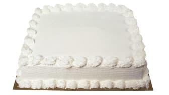 A plain vanilla half sheet cake