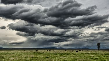 A thunderstorm moves over the Jackson Hole, Wyoming valley.