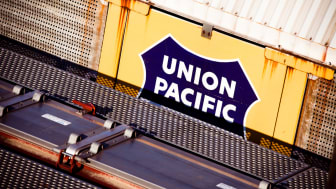 Seattle, Washington - August 29, 2009: Two Union Pacific boxcars sit at a switching yard in Seattle, waiting to be attached to a train and sent somewhere in North America