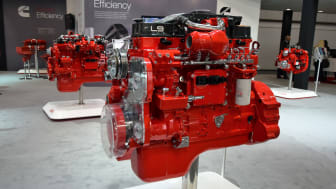 Hannover, Germany - September 21th, 2016: Presentation of truck and buses engines from Cummins on the motor show. The engine producer presented new generation diesel engines. On the first pla