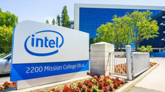 An Intel building sign