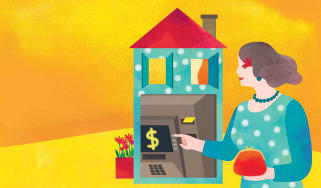 illustration of woman taking money out of her home
