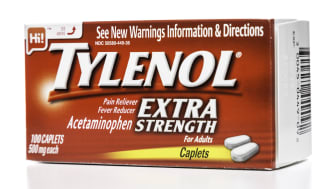 Miami, USA - May 13, 2014: Tylenol Extra Strength for adults box