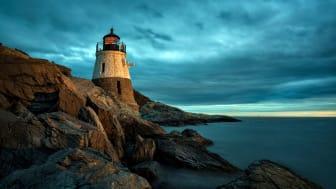 A lighthouse on a cliff