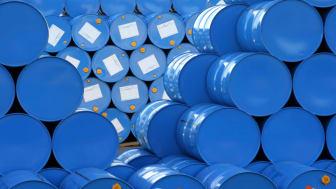 stacked blue barrels