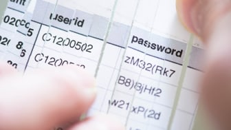 User ids and passwords on a folded piece of paper