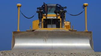 Lelystad, The Netherlands - September 24, 2017: Caterpillar (CAT) D6T LGP bulldozer sits at rest on landwinning construction site Marker Wadden.