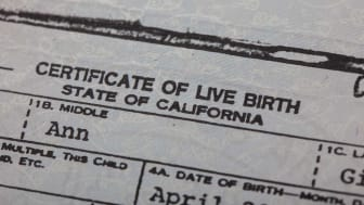 A California birth certificate