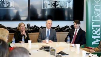 NEW YORK, NEW YORK - APRIL 01: M&T Bank's Doris Meister, The Shed Chairman of the Board Daniel L. Doctoroff, and M&T Bank's Blair Ridder speak as M&T Bank is Named The Founding Bank Of The Sh