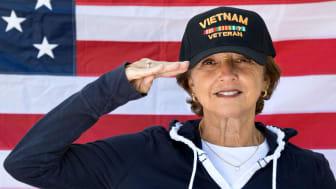 photo of veteran saluting