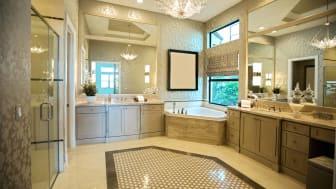 A beautiful modern bathroom, full