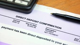 A direct deposit slip