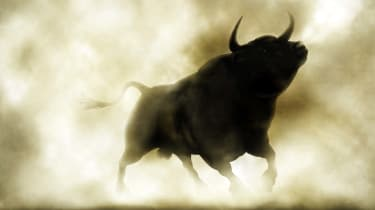 A bull silhouette through smoke represents the idea of best stocks.